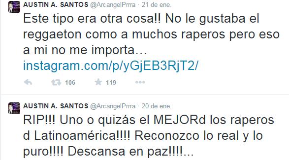 El luto por Canserbero cruzó las fronteras del hip hop al reggaeton, tal y como se ejemplifica en este tuit de Arcángel. (Twitter)