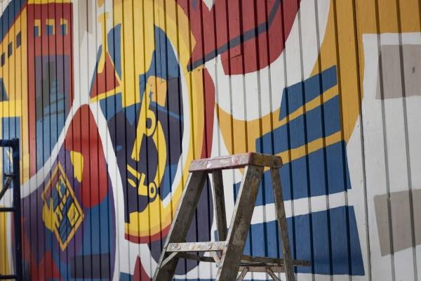 Mural desarrollado por los estudiantes de la UPR en Carolina.