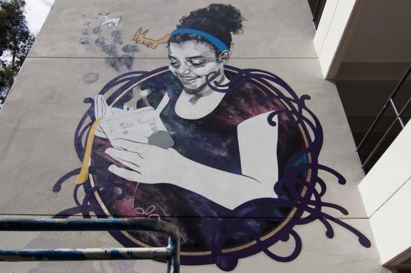 El mural de la artista Elizabeth Barreto tuvo como inspiración la obra de literatura universal, El Principito.