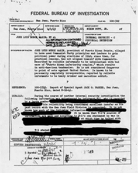 Denis utiliza en su libro documentos declasificados del FBI, donde se muestra el carpeteo a distintas figuras prominentes de Puerto Rico. Aquí uno de esos documentos correspondientes al ex gobernador Muñoz Marín. (Suministrada)