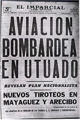 Portada del diario El Imparcial correspondiente al bombardeo de Jayuya y Utuado.  (Suministrada)