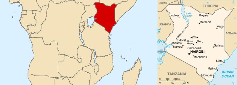 Localización de Kenia y las fronteras que comparte con países como Somalia. (Wikimedia Commons / Fotomontaje: Kiara Candelaria Nieves)