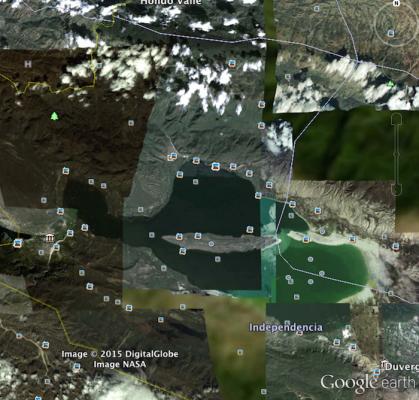 Imágenes satelitales muestran el aumento en el nivel del agua en el Lago Enriquillo durante la última década. Así lucía el cuerpo de agua en el año 2006. (Google Earth)