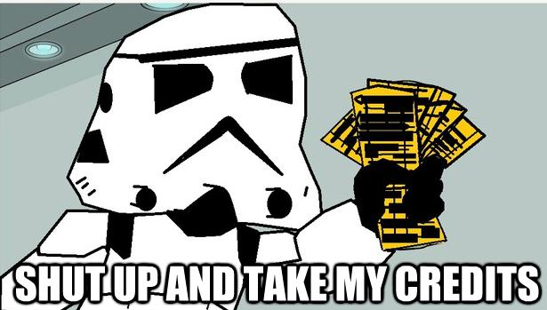 El famoso 'meme' del personaje de Fry de Futurama como un Stormtrooper pidiendo que se lleven su dinero. (Suministrada)