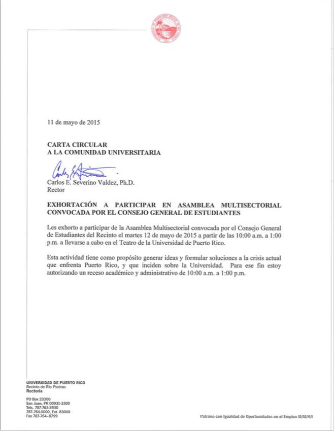 Carta del rector Severino.