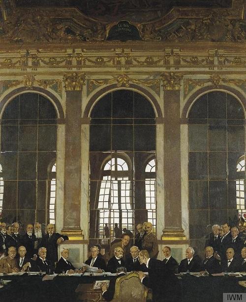 Firma del Tratado de Versalles en el Salón de los Espejos el 28 de junio de 1919. (Pintura por William Orpen / Imperial War Museum)