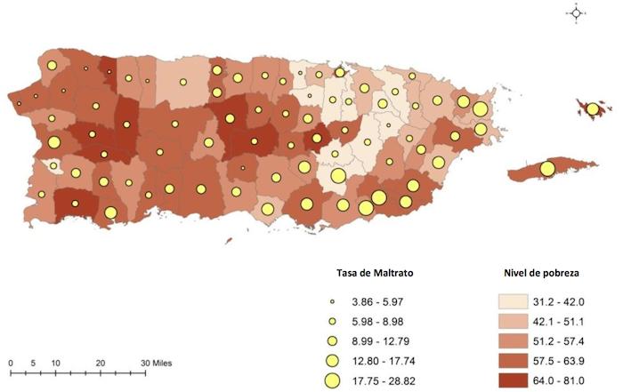 En el mapa se pueden observar los municipios en los que se registró la mayor cantidad de casos del maltrato durante 2012-2013, siendo los pueblos con el color más oscurecido, los de mayor incidencia.