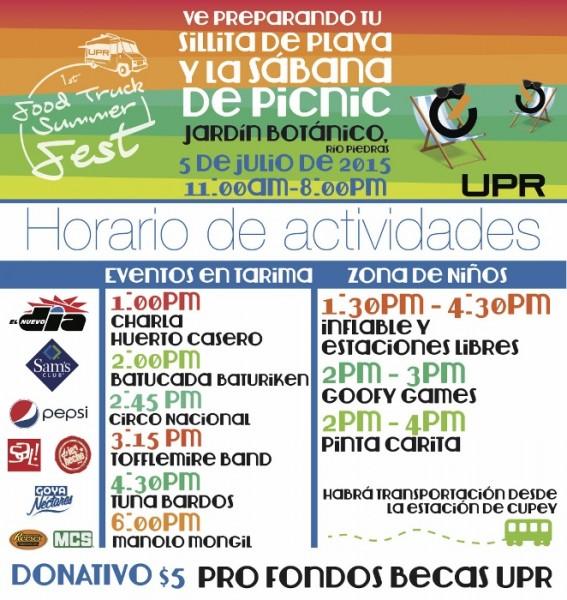 Itinerario de festival de food trucks de la Oficina de Exalumnos de la UPR