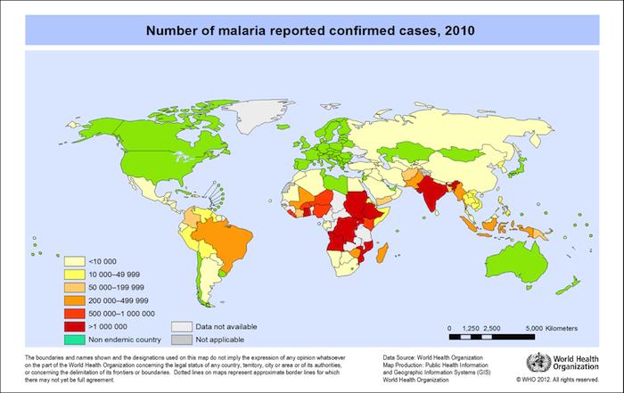 Este mapa muestra la incidencia de malaria a nivel mundial, siendo los países marcados en rojo los más afectados. (Suministrada)