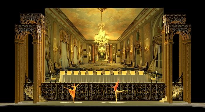 """Diseño de una escena del ballet de Romeo y Julieta, el cual estrenará en diciembre de 2016. """"Checo"""" Cuevas combina elementos escenográficos concretos con proyecciones fílmicas. (Suministrada)"""