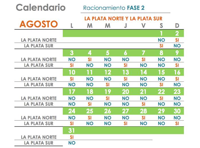 Este calendario indica los ajustes al plan de racionamiento a los clientes de La Plata. (Suministrada)