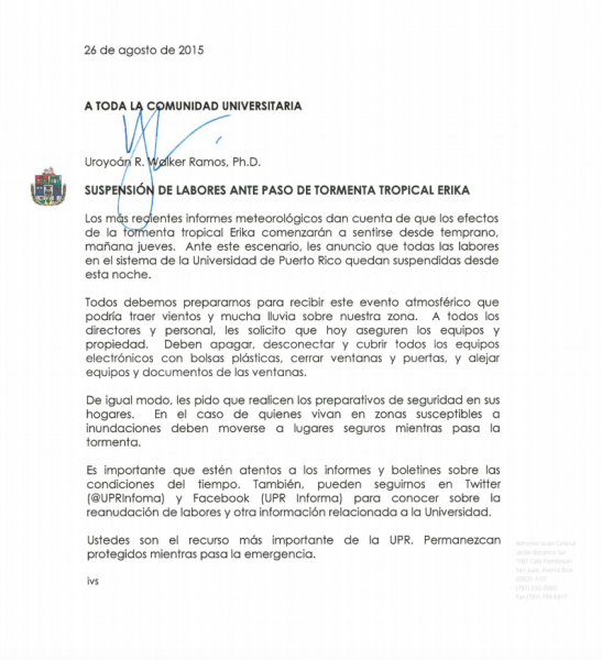 Carta del presidente de la UPR
