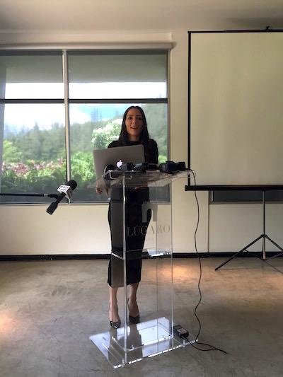 Alexandra Lúgaro en conferencia de prensa. (Adriana De Jesús Salamán)