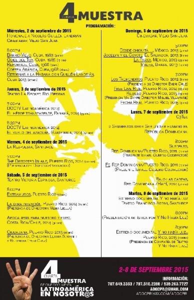 Programaciónla de la  Muestra de Cine Documental titulada  Latinoamérica en Nosotros.