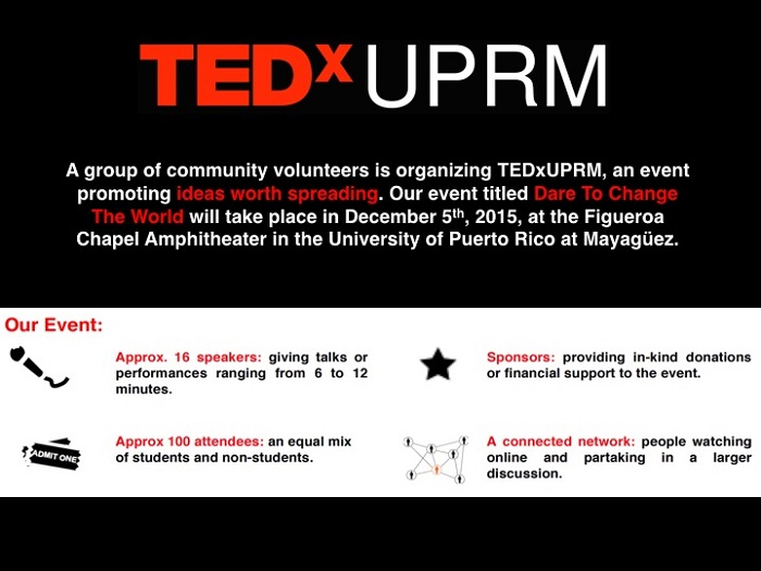 Flyer del primer TEDx del Sistema Universitario de Puerto Rico. (Suministrada)