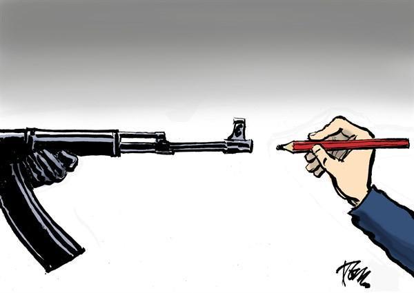 Pieza del caricaturista holandés Tom Jansenn publicada alrededor del mundo tras los ataques a Charlie Hebdo.