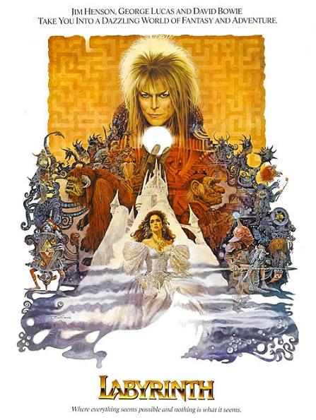Poster de la pélicula Labyrnth, que protagonizó Bowie hace más de 30 años.