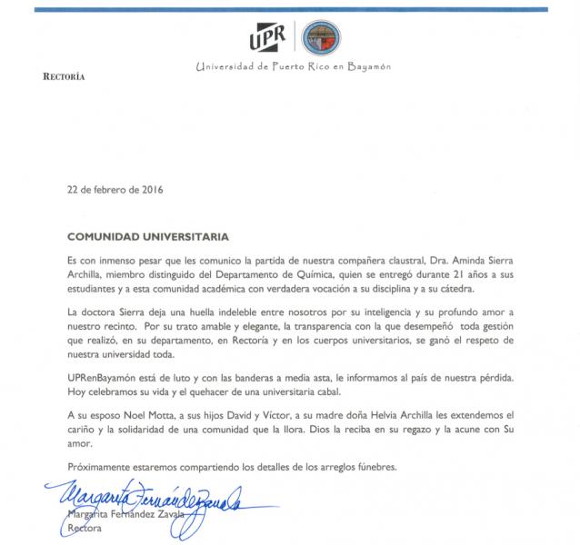 Carta rectora UPR Bayamón