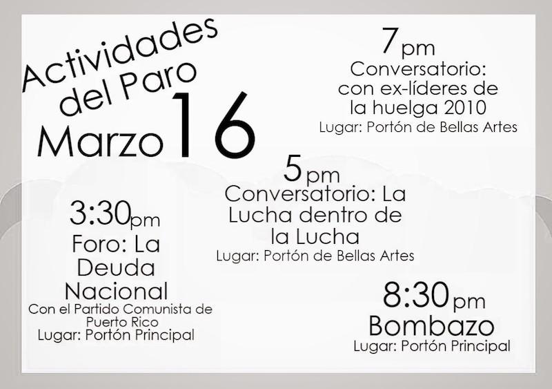 Calendario de eventos del paro, miércoles.