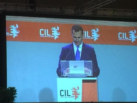 El rey español Felipe VI presentó su ponencia durante la inauguración del VII Congreso Internacional de la Lengua Española en el Centro de Convenciones de Miramar. (Suministrada)