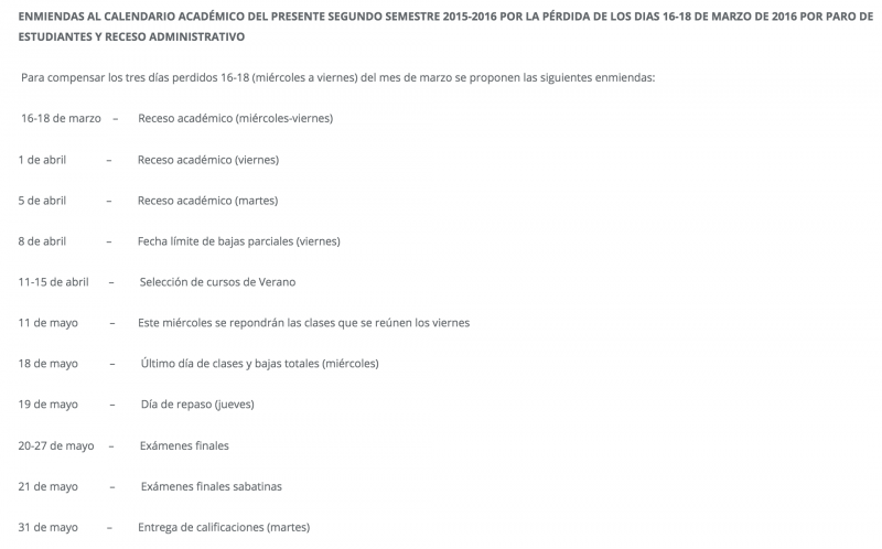Enmiendas calendario académico