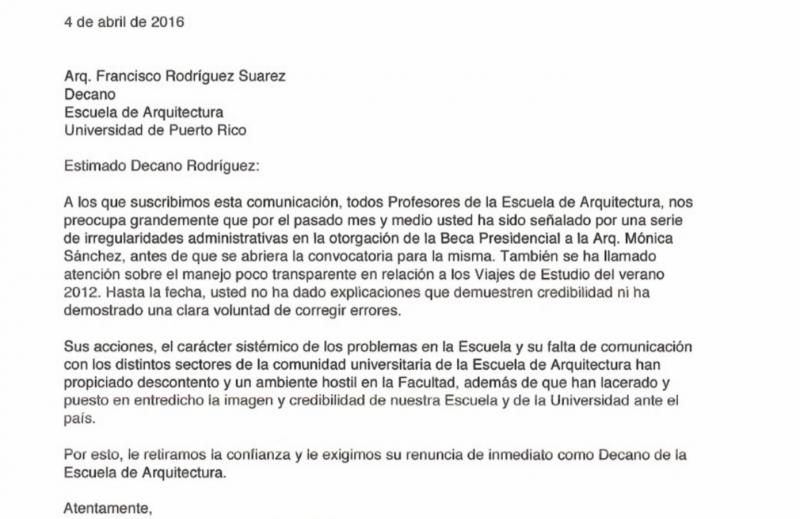 Carta de los profesores de arquitectura pidiendo la destitución del decano de la Escuela.