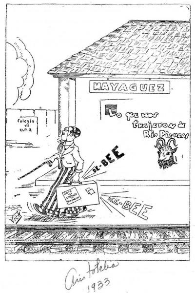 """Caricatura en la Aristotelia del RUM (1933) que representa a los riopedrenses como los """"Clark Gable"""" que llegan a Mayagüez con un """"chivo"""" escondido en la maleta (imagen provista por Moux Suárez)."""
