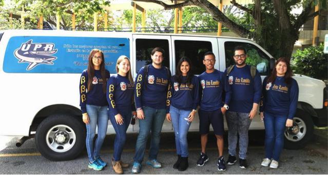 Parte de los estudiantes de Zeta Lambda saliendo de la UPR Aguadilla rumbo a la Convención Nacional. (Suministrada)