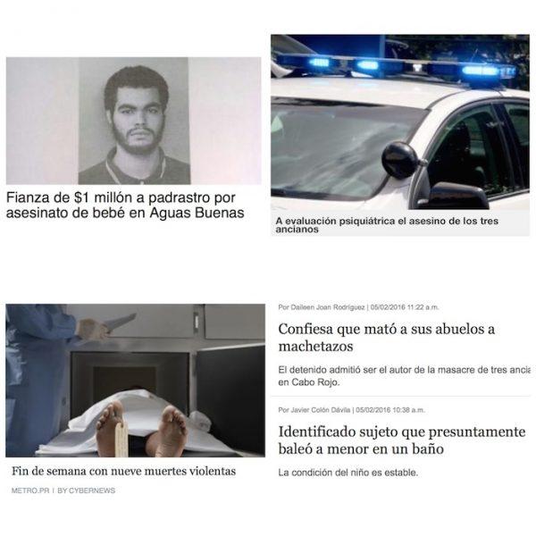 Titulares de noticias policiacas publicadas por medios de Puerto Rico.