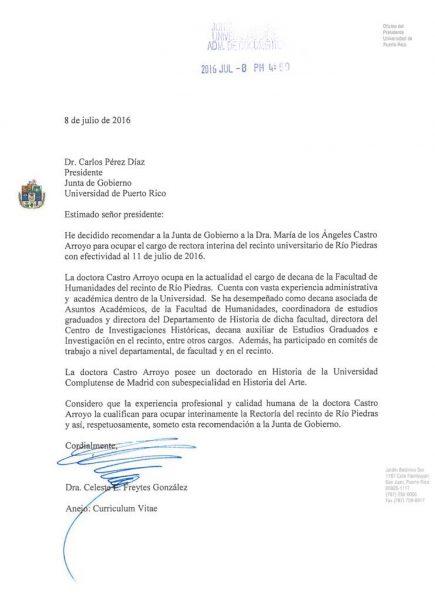 Copia de la carta enviada a la Junta de Gobierno.
