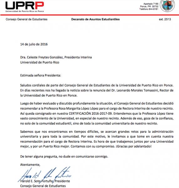 Carta de recomendación - CGE UPR-Ponce a la doctora Rosa Margarita López