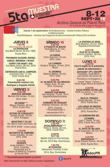 Programa de la quinta muestra de cine Latinoamérica en Latinoamérica en Nosotr@s. (Suministrada)