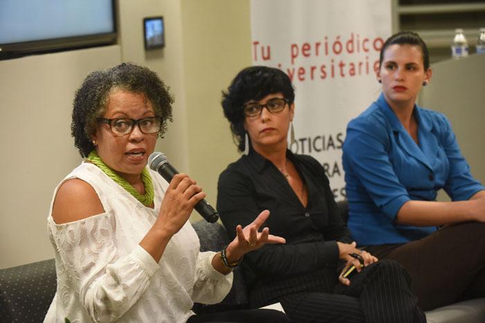 De izquierda a derecha, las candidatas al Senado Ada Álvarez, Amarilis Pagán y Edda López. (Ricardo Alcaraz/ Diálogo)