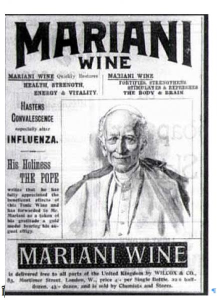 Anuncio de un periódico inglés donde aparece el Papa Leo XIII promocionando el vino Mariani. (Suministrada)
