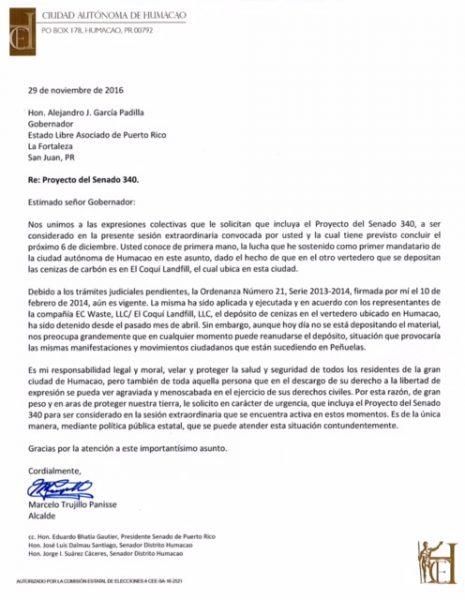 Carta de Alcalde Humacao al gobernador