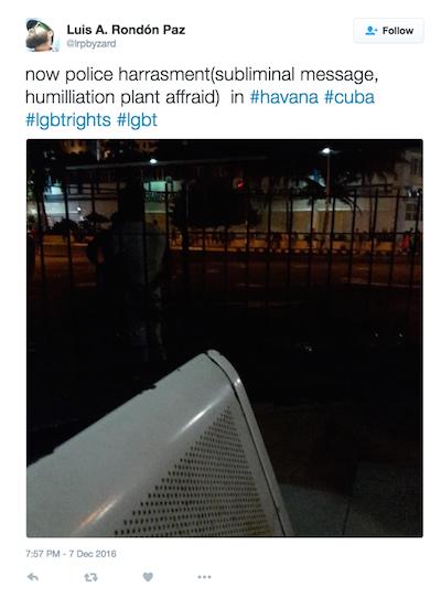 A través de Twitter, Rondón Paz mostró la foto de un ciudadano esposado.