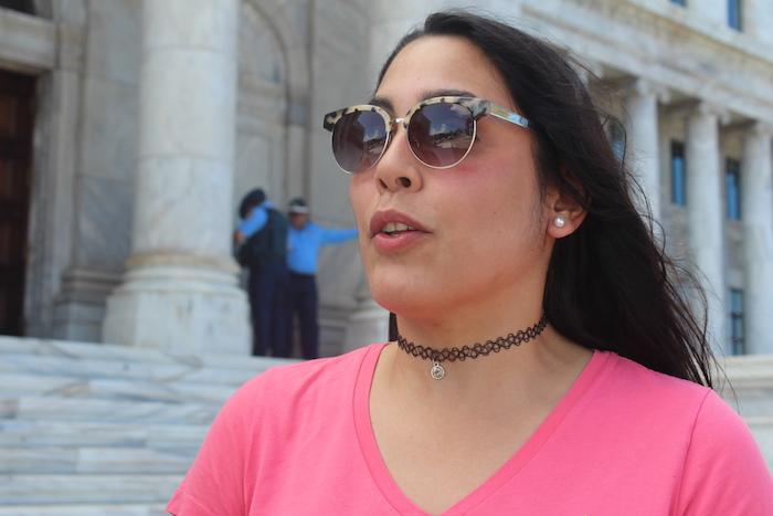 Ana Figueroa, líder de manifestación en el Capitolio. (Glorimar Velázquez/ Diálogo)