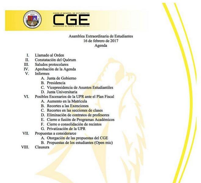 Agenda de temas de la UPR en Arecibo.