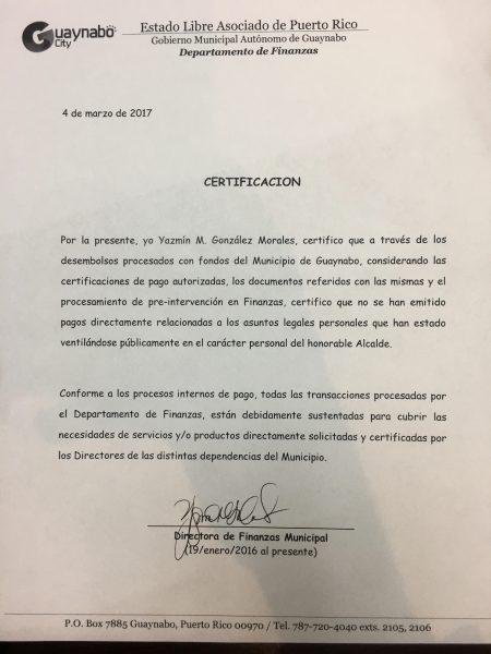 Certificacion Guaynabo